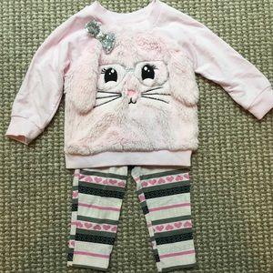 Kids Headquarters plush sweatshirt/leggings set